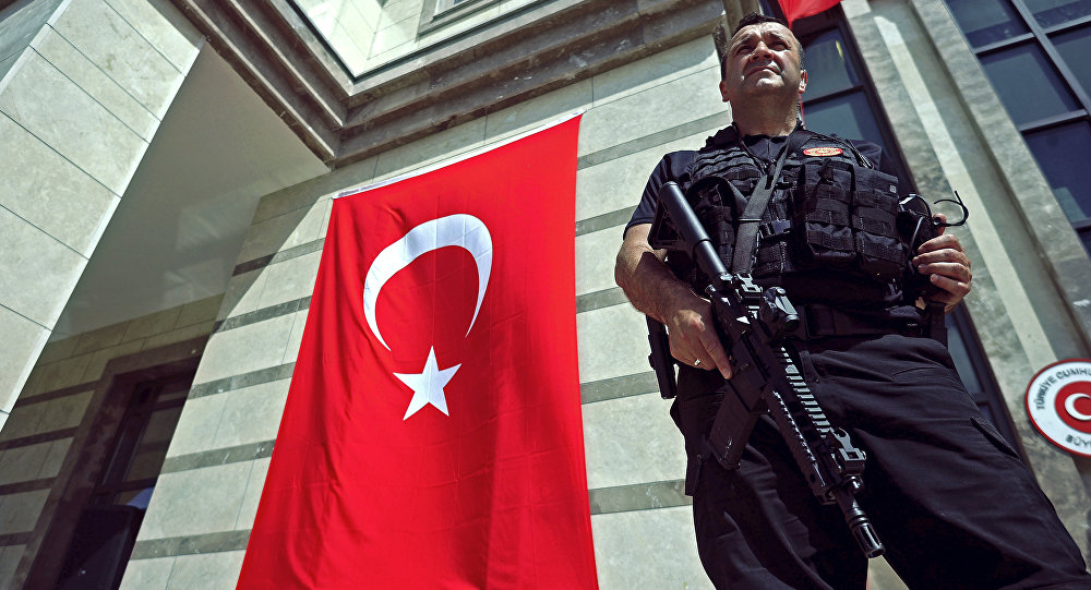 A member of the Turkish security forces stands guard during the opening of the new Turkish embassy in Mogadishu on June 3, 2016