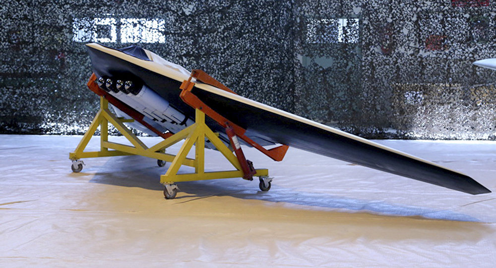 The new attack drone called Saegheh or Thunderbolt in an undisclosed location in Iran.