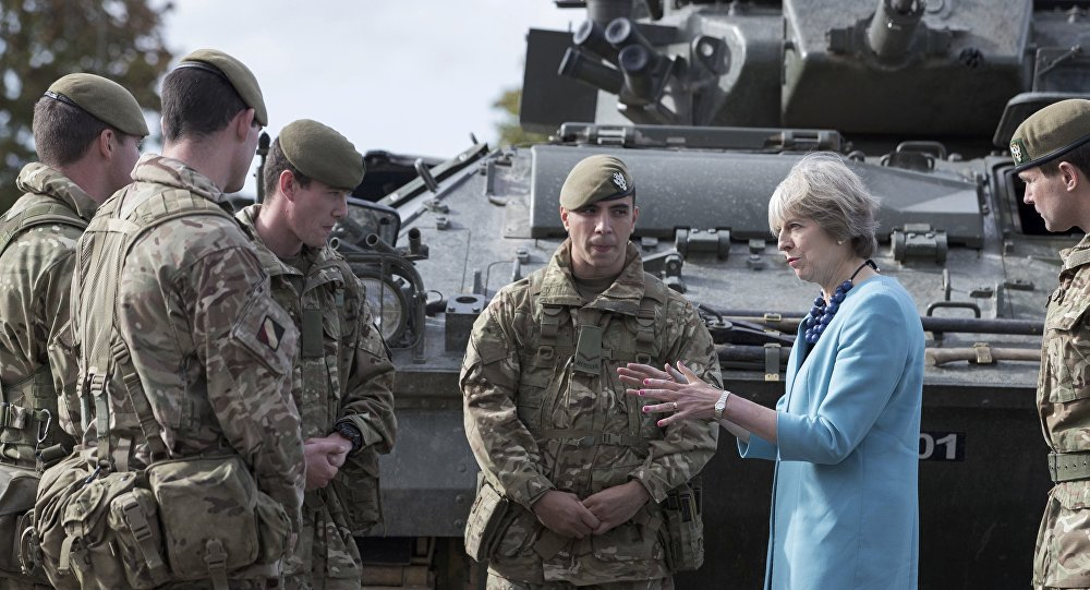 Prime Minister Theresa May greets troops as she visits 1st Battalion The Mercian Regiment (Cheshire, Worcesters and Foresters, and Staffords) at their barracks at Bulford Camp on September 29, 2016 near Salisbury, England. The Prime Minister visited the military base in the Salisbury Plain area to meet with soldiers, see the equipment they work with and to also meet with some their families