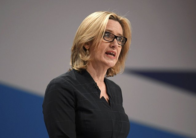 British Home Secretary Amber Rudd delivers her keynote address at the annual Conservative Party Conference in Birmingham, Britain, October 4, 2016.