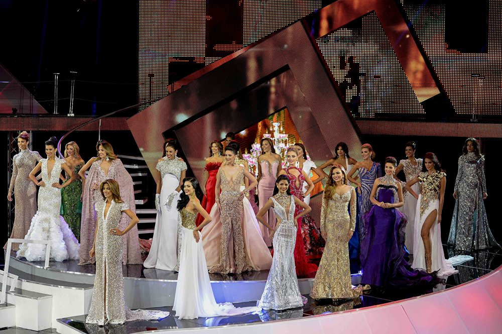 Participants take part in the Miss Venezuela 2016 beauty pageant in Caracas on October 5, 2016.