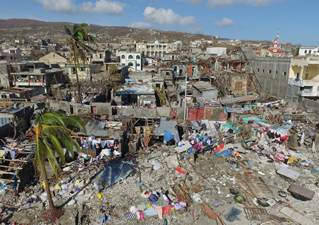 Aerial view of damages in small village of Casanette near Baumond, Haiti on October 8, 2016 after Hurricane Matthew passed the area.