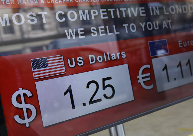 A screen in a currency exchange showing the latest tourist rates for the British pound sterling against the United States dollar, in central London, Tuesday, Oct. 4, 2016