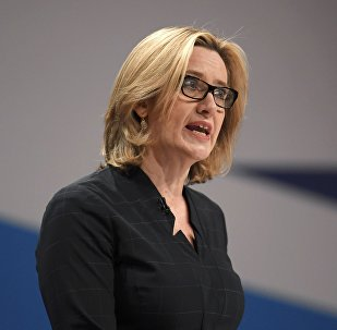 British Home Secretary Amber Rudd delivers her keynote address at the annual Conservative Party Conference in Birmingham, Britain, October 4, 2016