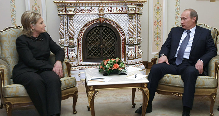 Russian Prime Minister Vladimir Putin meets with US Secretary of State Hillary Clinton in Novo-Ogarevo