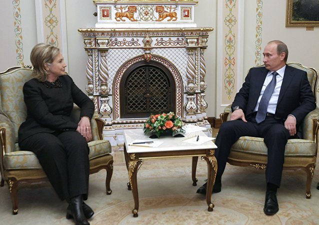 Russian Prime Minister Vladimir Putin meets with US Secretary of State Hillary Clinton in Novo-Ogarevo
