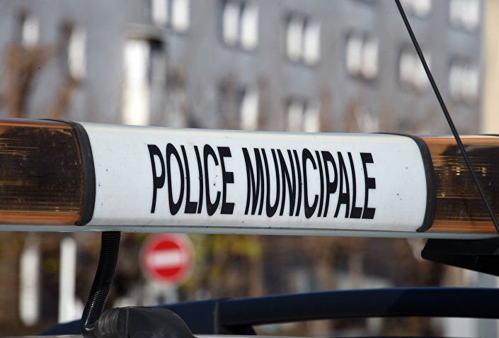 A photo taken on January 22, 2015 in Beziers, southern France, shows the beacon of a vehicle of the French municipal police