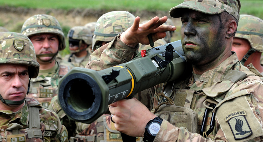A US serviceman holds a rocket launcher during the joint military exercise Noble Partner 2016 at the Vaziani training area, outside of Tbilisi on May 14, 2016.