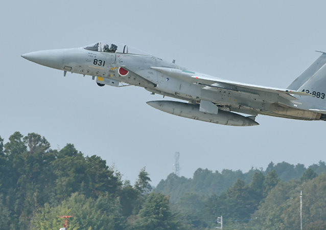 A Japan Air Self-Defense Forces F-15J/DJ takes off