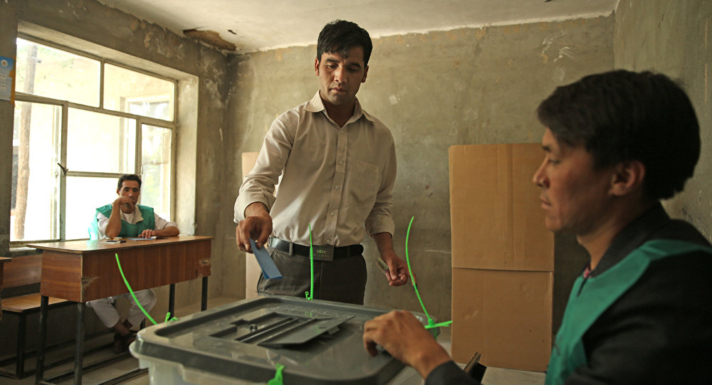An Afghan man casts his vote at a polling station in Kabul, Afghanistan (File)