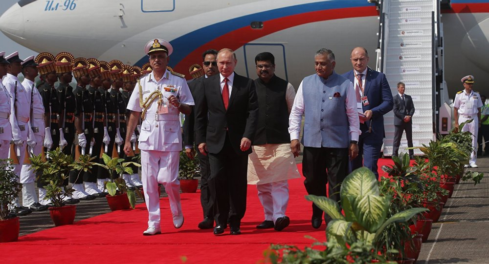 Russian President, Vladimir Putin arrives at the airport in Goa on October 15, 2016