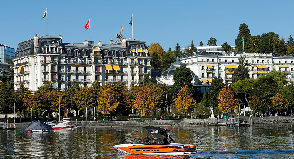 A boat is pictured on Lake Leman in front of the Beau-Rivage Palace during Syria talks in Lausanne, Switzerland, October 15, 2016