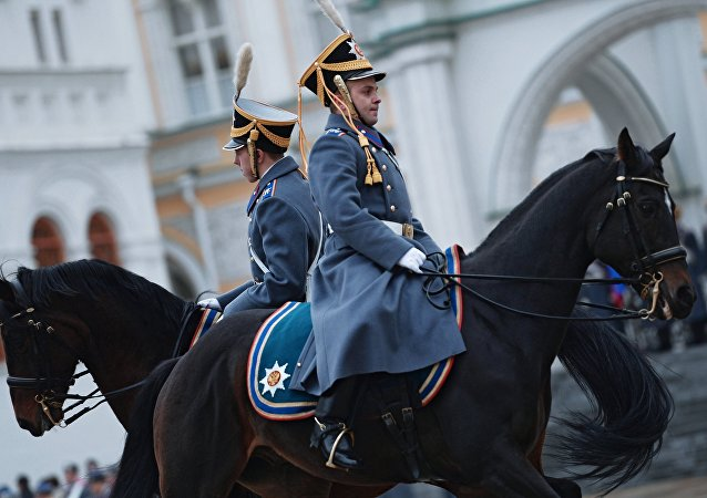 The year's last guard mounting ceremony of dismounted and cavalry guards