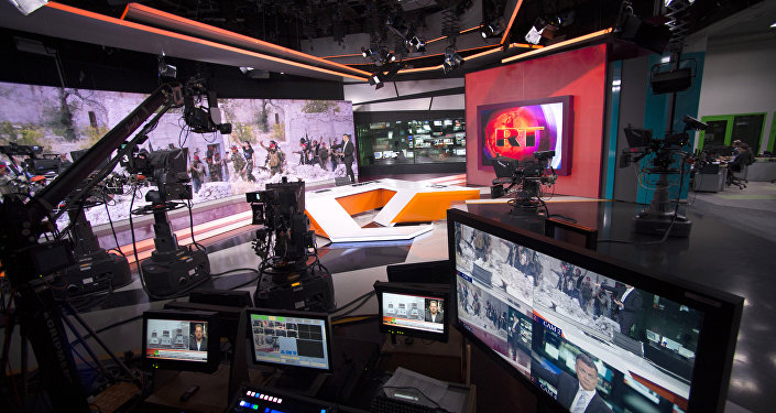 An RT newsroom during a live program in English. file photo
