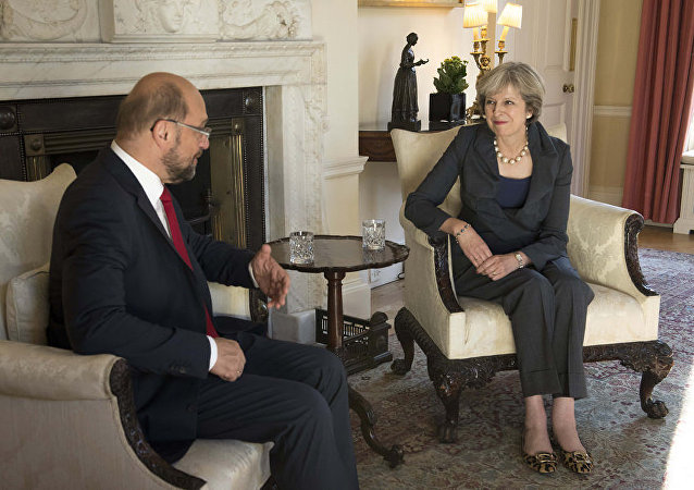 British PM Theresa May and President Schulz of the European Union