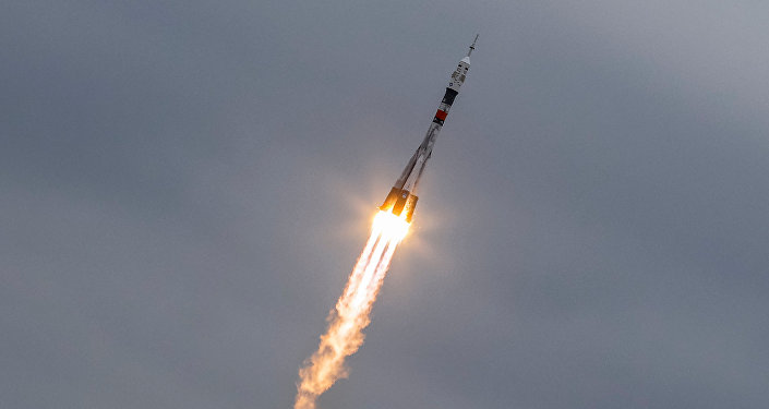 The Soyuz MS-02 spacecraft carrying the crew of Shane Kimbrough of the U.S., Sergey Ryzhikov and Andrey Borisenko of Russia blasts off to the International Space Station (ISS) from the launchpad at the Baikonur cosmodrome, Kazakhstan, October 19, 2016.