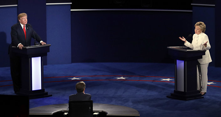 Democratic presidential nominee Hillary Clinton and Republican presidential nominee Donald Trump debate during the third presidential debate at UNLV in Las Vegas