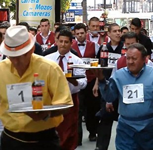 Waiters Race In Buenos Aires