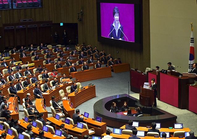 South Korean President Park Geun-Hye delivers an annual budget address at the National Assembly in Seoul on October 24, 2016