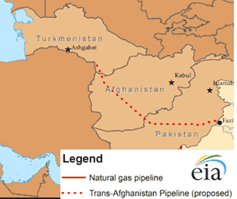 Map of route of Turkmenistan-Afghanistan-Pakistan-India pipeline