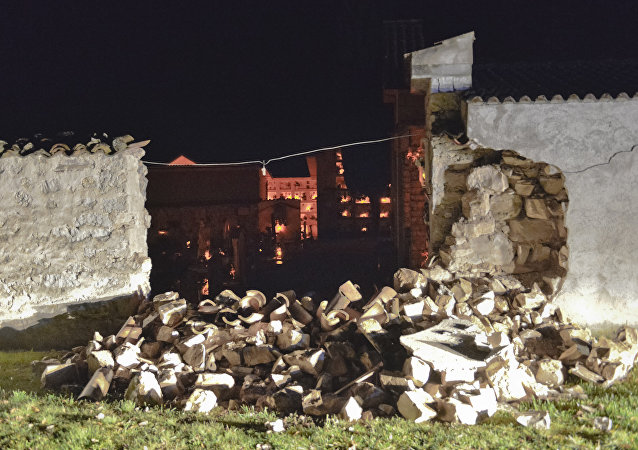 A view of the damaged cemetery of Castelsantangelo sul Nera, Italy, Wednesday, Oct 26, 2016 following an earthquake.