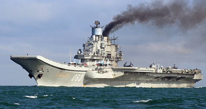 The aircraft carrier Admiral Kuznetsov sails together with the Russian Northern Fleet's carrier battle group through the English Channel. (File)