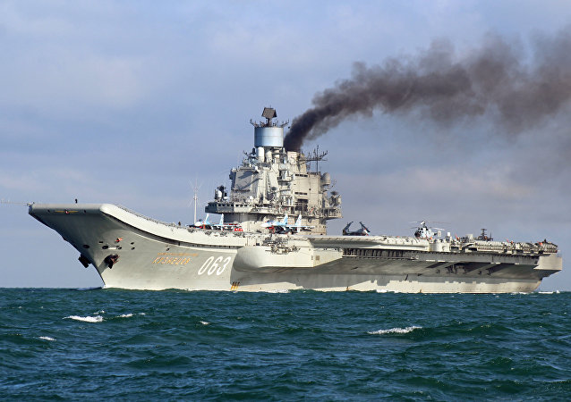 The aircraft carrier Admiral Kuznetsov sails together with the Russian Northern Fleet's carrier battle group through the English Channel