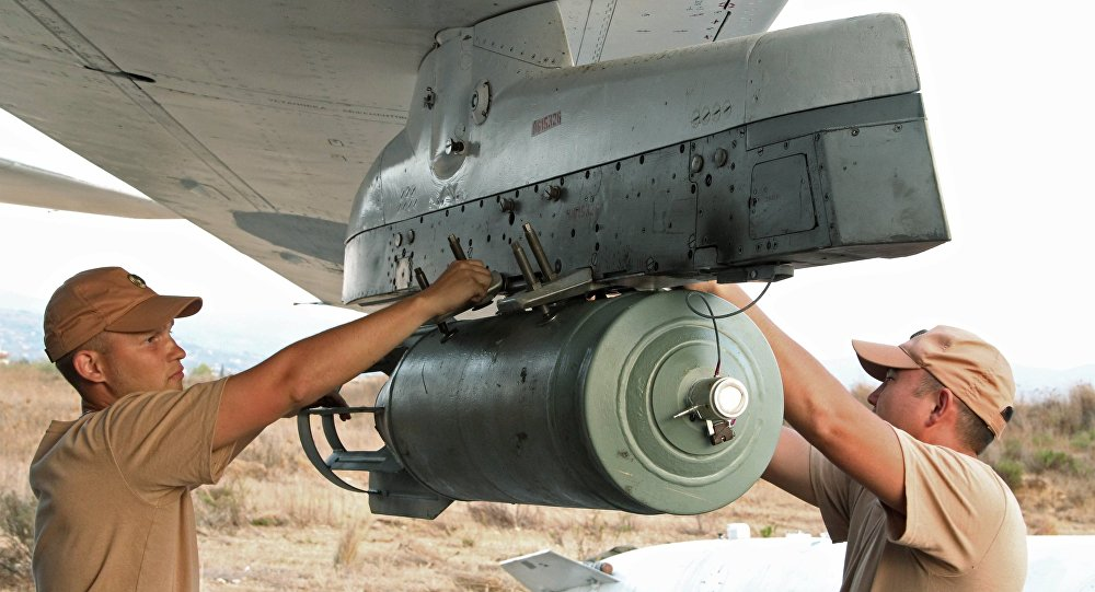 Technical personnel service a Russian airplane at Hmeimim airport, Syria. (File)