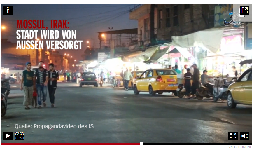 Spiegel refers to Daesh propaganda footage claiming the life in Mosul to be normal