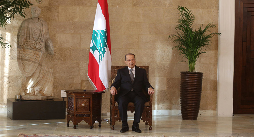 Newly elected Lebanese president Michel Aoun sits on the president's chair inside the presidential palace in Baabda, near Beirut, Lebanon October 31, 2016