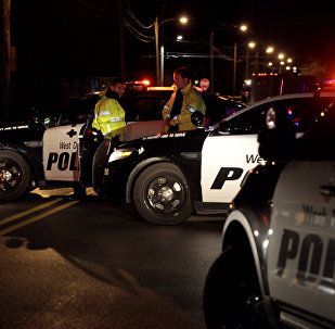 Police in Urbandale, Iowa set a blockade after two police officers were shot and killed in separate attacks described as ambush-style in Des Moines, Iowa, US November 2, 2016