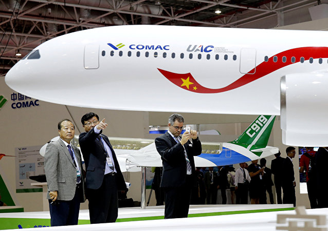 A model of a widebody jet, which is planned to be developed by Commercial Aircraft Corporation of China (COMAC) and Russia's United Aircraft Corporation (UAC) is presented at an air show, the China International Aviation and Aerospace Exhibition, in Zhuhai, Guangdong Province, China, November 2, 2016