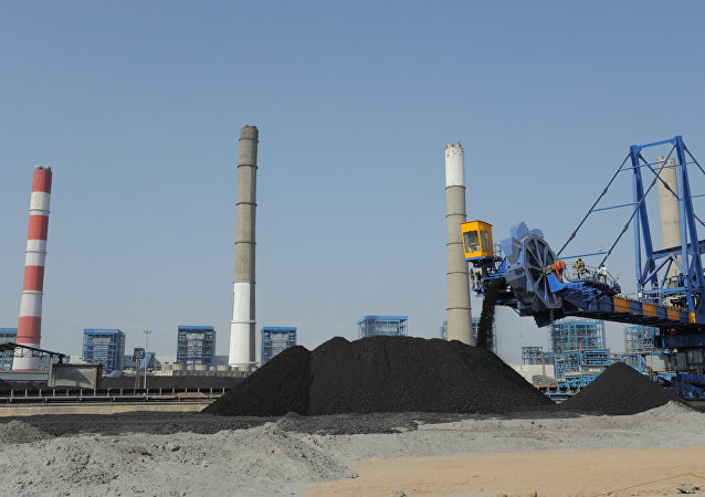 Workers use heavy machinery to sift through coal at the Adani Power company thermal power plant at Mundra some 400 kms from Ahmedabad on February 18, 2011