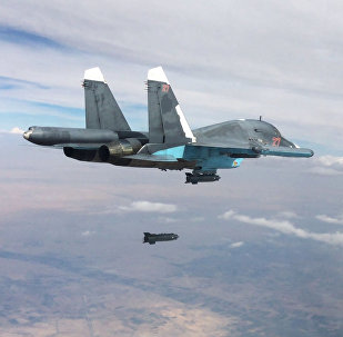 Russian Su-34 fighter-bomber aircraft carries out a strike against Daesh forces in Syria.