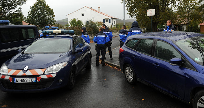 French gendarmes block the access to a house were the most senior leader of the Basque separatist group ETA, Mikel Irastorza was found in the French town of Ascain, in the Pyrenees region bordering Spain, on November 5, 2016.