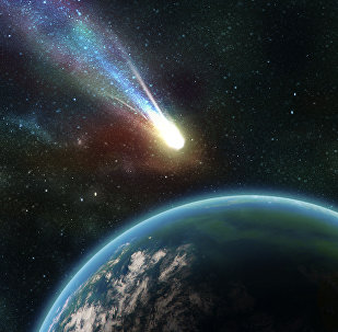Earth in space with a flying asteroid