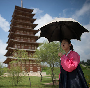 A girl in a historical park on the outskirts of Pyongyang.