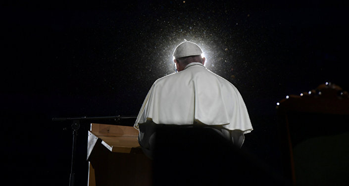 Pope Francis speaks during a meeting at the Malmo Arena in Malmo, Sweden, October 31, 2016