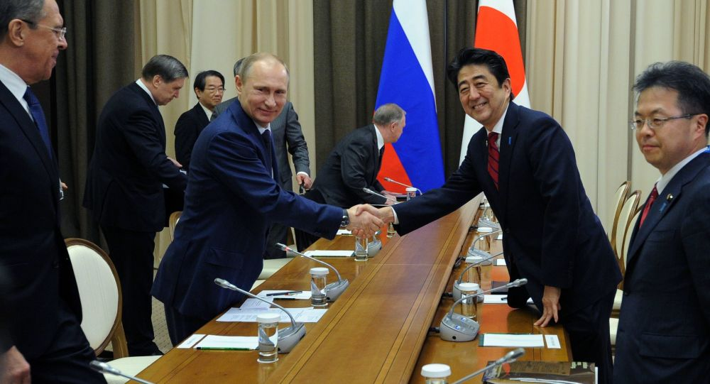 Russian President Vladimir Putin and Japanese Prime Minister Shinzo Abe shake hands at their meeting in the Bocharov Ruchei residence in Sochi, Russia, Saturday, Feb. 8, 2014.