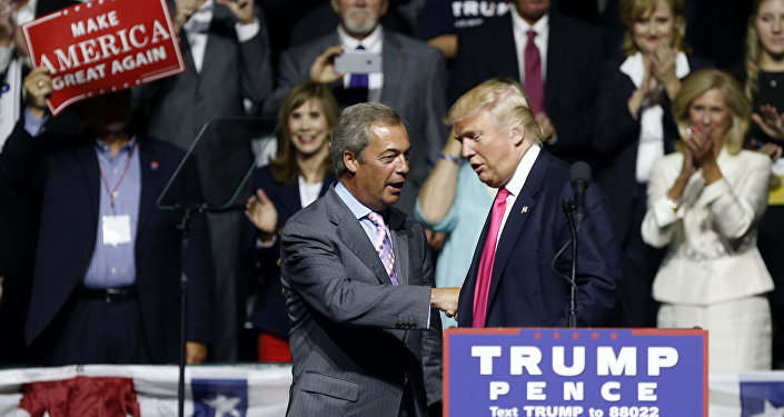 Republican presidential candidate Donald Trump welcomes Nigel Farage, left, ex-leader of the British UKIP party, to speak at a campaign rally in Jackson, Miss., Wednesday, Aug. 24, 2016.