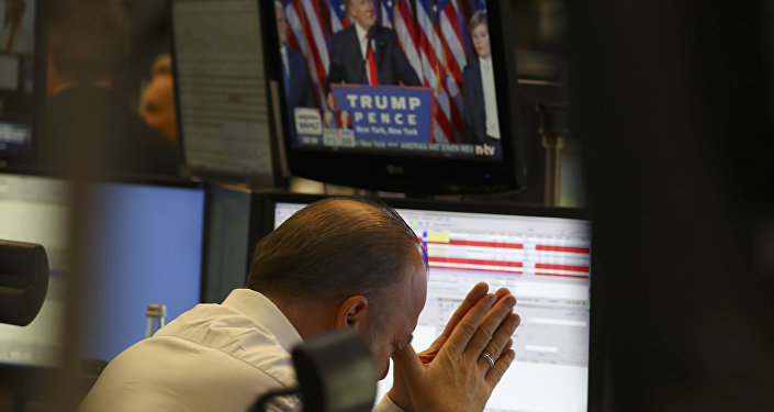A trader at the stock exchange reacts in Frankfurt, Germany.