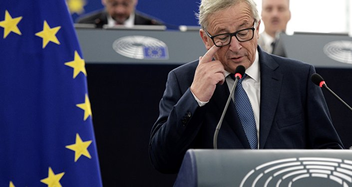 European Commission's President Jean-Claude Juncker delivers a speech.
