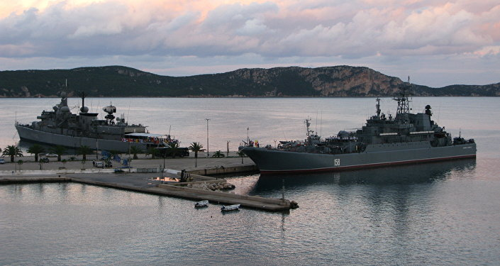 The Russian Navy's large landing ship Caesar Kunikov in the Grek port city of Pylos