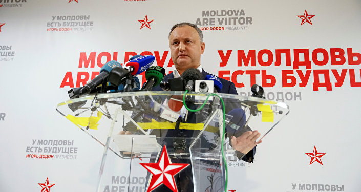 Moldova's Socialist Party presidential candidate Igor Dodon speaks to the media after a presidential election at his election headquarters in Chisinau, Moldova, November 14, 2016.