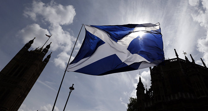 The Scottish flag flies above Parliament in Westminster, London. (File)