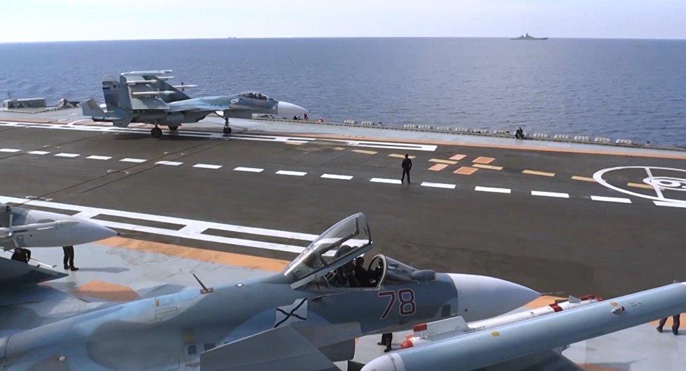 Flight deck of Admiral Kuznetsov aircraft carrier