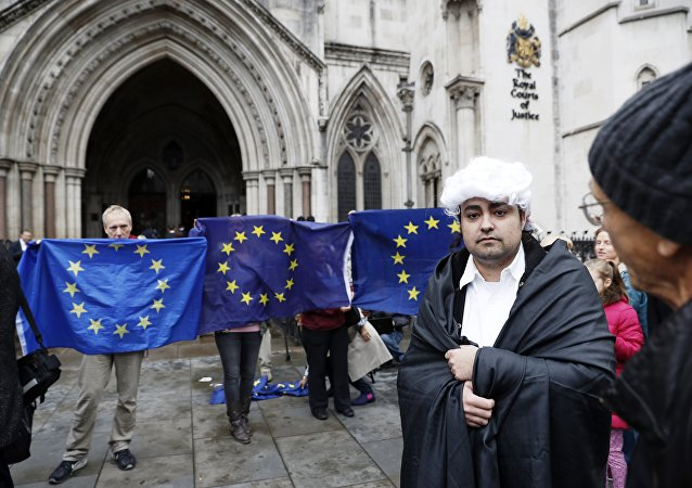A pro-Brexit supporter (R) from Invoke Article 50 Now!, dressed as a judge, stands in front of Pro-European Union (EU) supporters outside the entrance to The Royal Courts of Justice, Britain's High Court, in London on October 13, 2016, during a protest against the UK's decision to leave the EU.