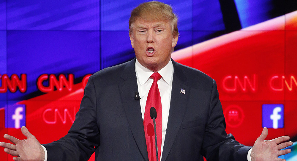 In this Dec. 15, 2015 file photo, Donald Trump makes a point during the CNN Republican presidential debate at the Venetian Hotel & Casino in Las Vegas
