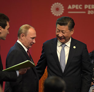 Russia's President Vladimir Putin (2nd L) and China's President Xi Jinping (2nd R) chat after shaking hands at the start of the ABAC and APEC Leaders' Dialogue at the Asia-Pacific Economic Cooperation Summit in Lima on November 19, 2016.