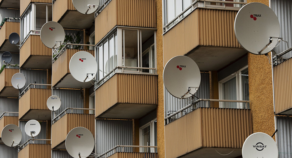 Satellite dishes are pictured on balconies at the Hovsjoe district in south-western Soedertaelje.The district is dominated heavily by people with different ethnic background than Swedish, in particular Assyrians / Syrians, Sweden Finns and Armenians.